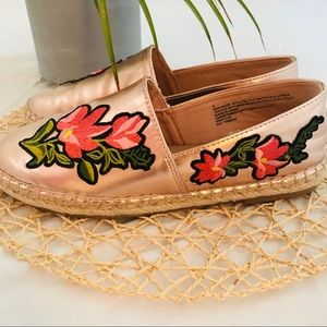 A New Day (a.n.d.) Rose Gold Embossed Espadrilles